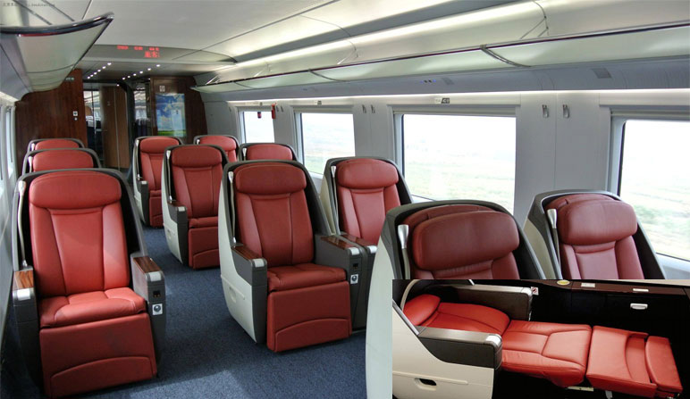 business seats in bullet trains or high speed train in china