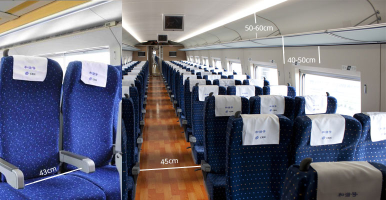 second seats in G trains or D trains in China